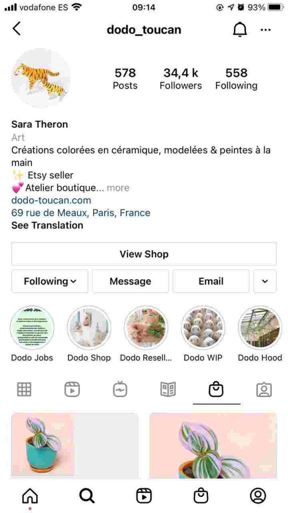 Instagram Shop button